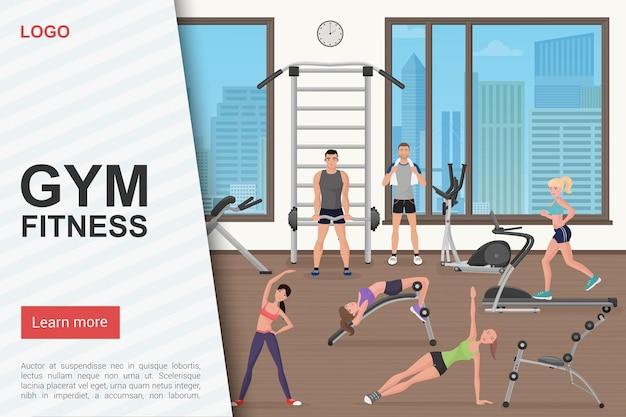 Allenamento in palestra, fitness club, modello di pagina di destinazione del sito web del centro sportivo