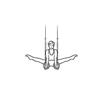Ginnasta che fa spaccatura sull'icona di doodle di contorni disegnati a mano degli anelli. sportivo atletico, concetto di esercizi acrobatici. illustrazione di schizzo vettoriale per stampa, web, mobile e infografica su sfondo bianco.