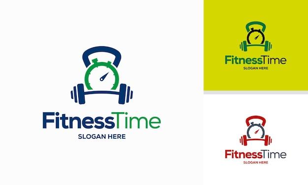 Il logo del tempo di ginnastica progetta il concetto vettore icona del simbolo del modello del logo del tempo di fitness