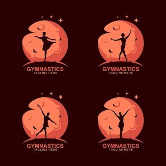 Logo silhouette ginnastica sulla luna con farfalla
