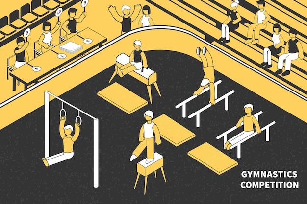 Composizione isometrica di competizioni sportive di ginnastica con personaggi umani del pubblico di arbitri e atleti con attrezzo da palestra