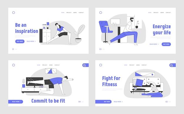 Pagina di destinazione di allenamento di ginnastica a casa