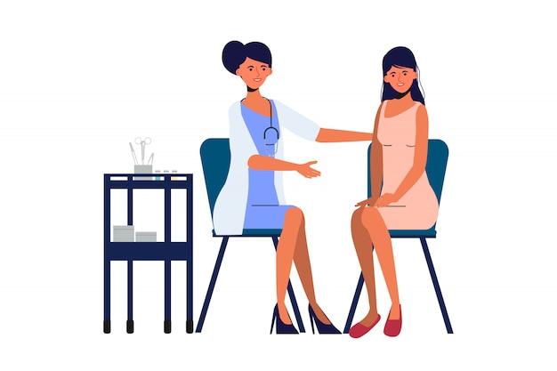 Medico ginecologico e paziente in ospedale. carattere di persone di laboratorio medico sanitario.