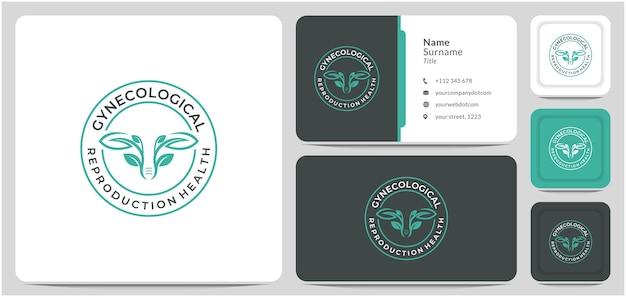 Foglia ginecologica logo design cancro vagina esperto di salute medico per chirurgia medica