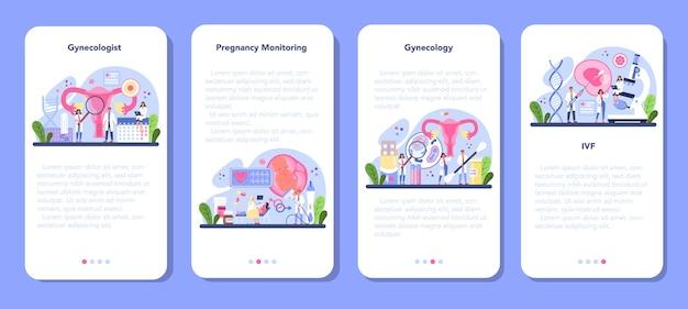 Set di banner per applicazioni mobili ginecologo