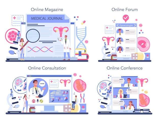 Servizio online di ginecologo o set di piattaforme