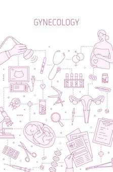 Modello della bandiera di vettore di ginecologia. concetto di gravidanza e parto. visita medica e screening, diagnostica prenatale. sanità, salute del sistema riproduttivo. manifesto dell'esame ecografico.