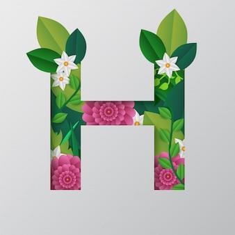 H alfabeto fatto da disegno floreale.