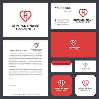H logo iniziale amore design vettoriale e biglietto da visita premium