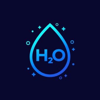 Icona h2o con goccia d'acqua, vettore