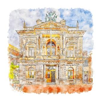 Illustrazione disegnata a mano di schizzo dell'acquerello di haarlem paesi bassi