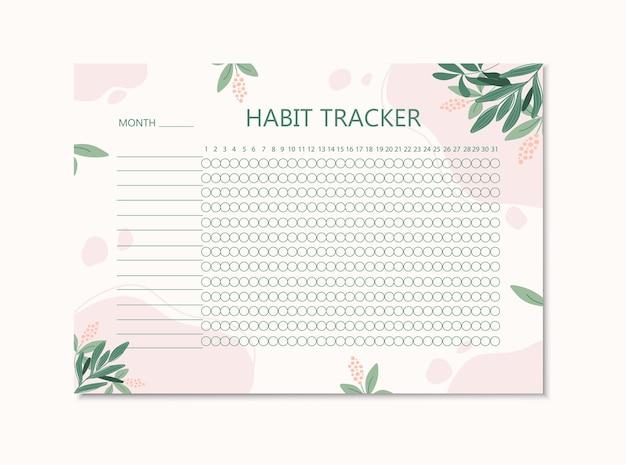 Modello di monitoraggio delle abitudini con elementi floreali