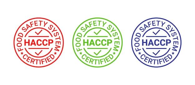 Icona di haccp hazard analysis critical control points. timbro del sistema di sicurezza alimentare, badge. etichetta rotonda certificata.