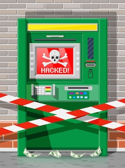 Concetto di bancomat hackerato, scrematura, furto di denaro dal bancomat