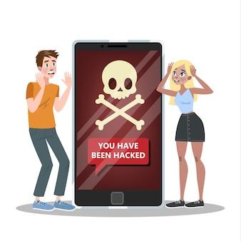 Illustrazione di telefono cellulare hackerato