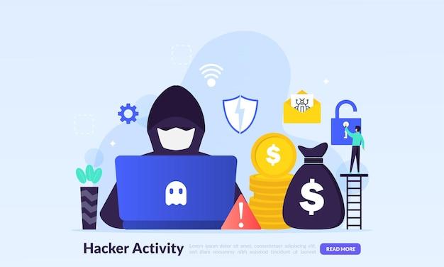 Concetto di attività hacker, pirateria informatica, furto online, criminali, ladri che indossano maschere nere, furto di informazioni personali dal computer