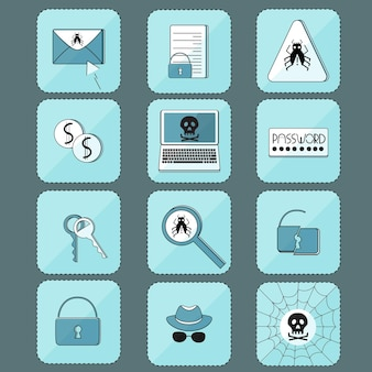 Attacco hacker. virus informatico. set di icone.