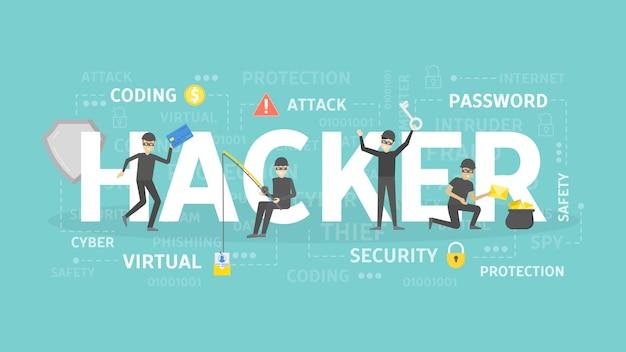 Illustrazione di concetto di hacker.