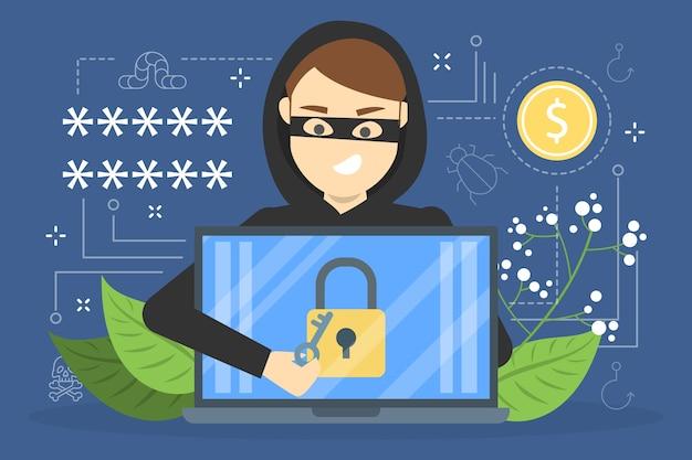 Concetto di hacker. rubare dati digitali dal computer. sistema di dispositivi di attacco ladro. hacking in internet. illustrazione