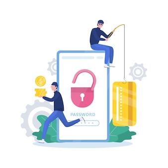 Concetto di hacker. i ladri attaccano il telefono cellulare, rubano dati personali Vettore Premium