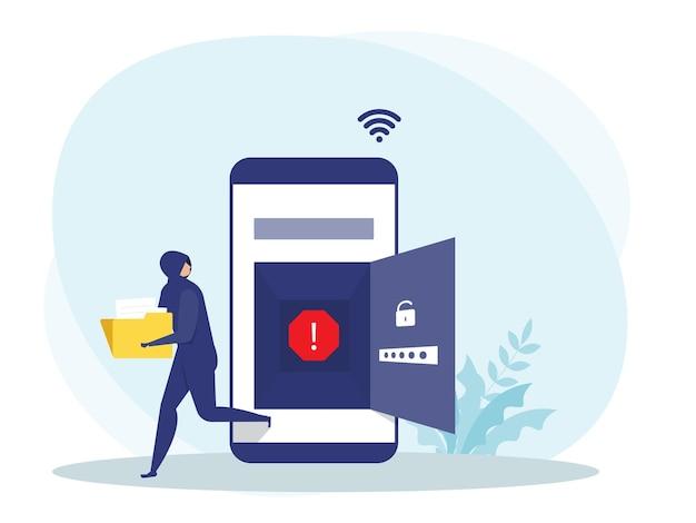 Hacker o ladro criminale in nero rubano dati o identità personale sul concetto di cellulare