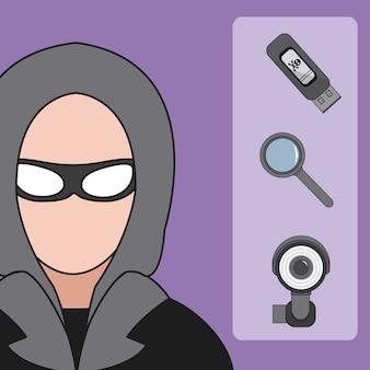 Le icone di sicurezza cyber e del pirata informatico vector la progettazione grafica dell'illustrazione