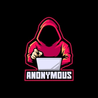 Modello di logo della mascotte dell'e-sport hacker