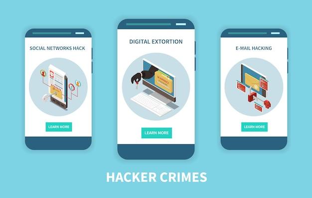 Bandiera di concetto isometrico di criminalità digitale di pesca del pirata informatico