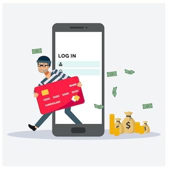 Il pirata informatico ha violato la carta di credito dallo smartphone, il concetto di hacker, l'illustrazione del personaggio dei cartoni animati di vettore piatto.