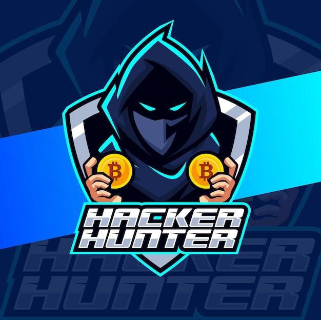 Personaggio di design logo esport mascotte hacker hunter