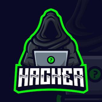 Modello di logo di gioco della mascotte dell'hacker per lo streamer di esports facebook youtube