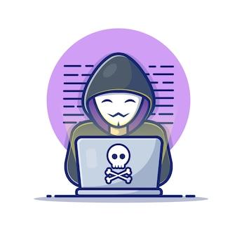 Pirata informatico che fa funzionare un'icona del computer portatile. hacker e laptop. pirata informatico e bianco dell'icona di tecnologia isolato