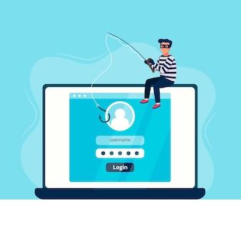 Conto di phishing di hacker illustrato Vettore Premium