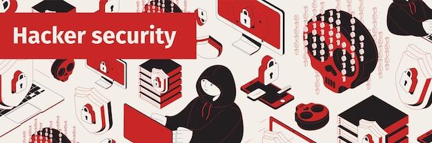 Illustrazione isometrica del sito di sicurezza del pirata informatico