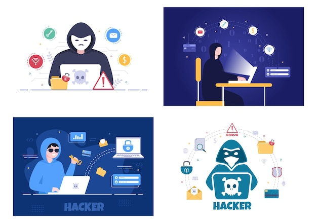 Hacker che utilizza il server del computer per l'attività del database hackerato sfondo illustrazione vettoriale