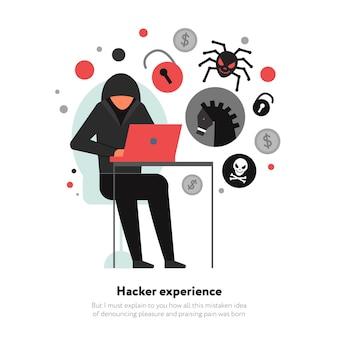 Hacker con laptop e set di icone