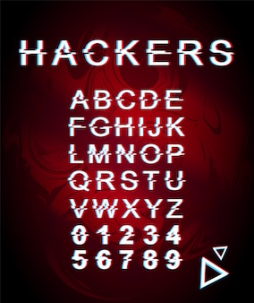 Modello di carattere glitch di hacker. il retro alfabeto futuristico di stile ha messo su fondo olografico rosso. lettere maiuscole, numeri e simboli. design tipografico criminale cyber con effetto di distorsione