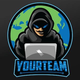 Progettazione dell'illustrazione di sport della mascotte degli hacker