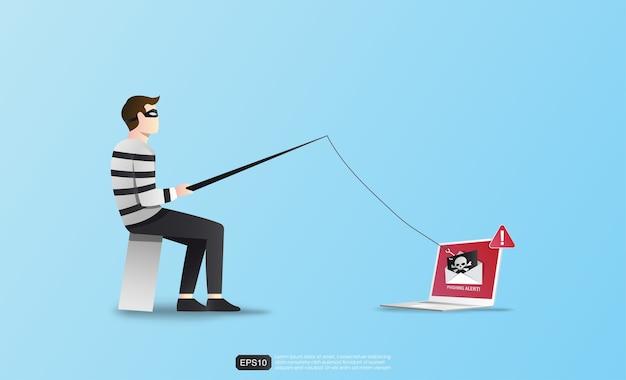 Concetto di hacking con segnale di avvertimento.
