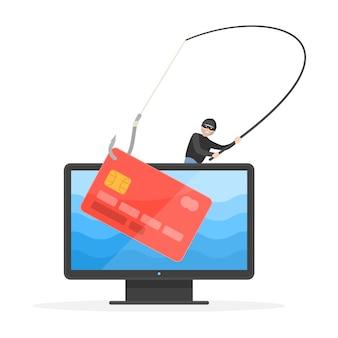 Hacking carta di credito, truffa informatica e phishing su conto bancario. pirata informatico criminale in spyware che ruba soldi con il gancio della canna da pesca sull'illustrazione di vettore del computer isolata su fondo bianco