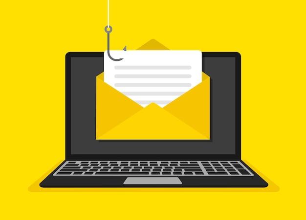 Hacking del concetto di laptop truffa online. phishing di dati. illustrazione vettoriale.