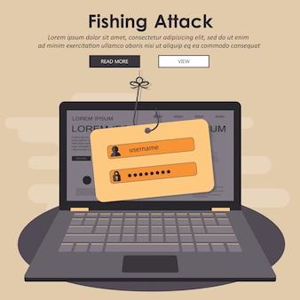 Hacking phishing attack. phishing di internet, concetto di sicurezza di internet