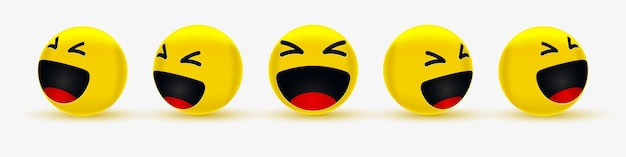 Haha emoji divertenti per social network o emoticon felici e ridenti
