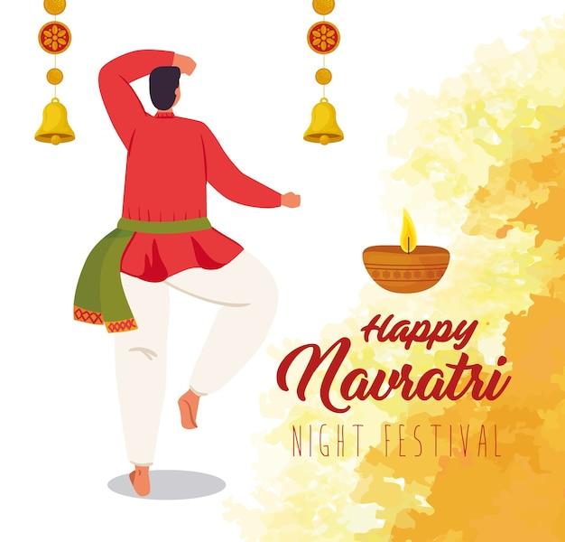 Navratri hahappy, poster di celebrazione del festival notturno e uomo indiano con disegno dell'illustrazione della decorazione