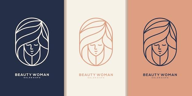 Logo di bellezza dei capelli per salone, rifacimento, parrucchiere, taglio di capelli.