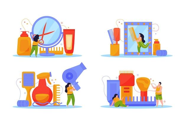 Set piatto per la cura dei capelli di quattro composizioni isolate con personaggi umani che tengono l'illustrazione dell'asciugacapelli forbici pettini