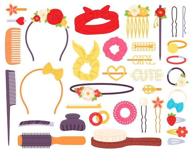 Fermagli per capelli con fiori e perle, cerchietto con fiocco e forcine per capelli. accessorio di gioielli di moda per l'acconciatura. set vettoriale di mollette, spille e pettini