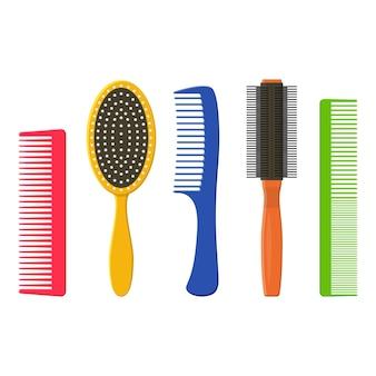 Set di pettini e spazzole per capelli isolato su uno sfondo bianco. spazzola per capelli collezione di attrezzature di moda e pettine stile parrucchiere icona. prendersi cura di se stessi in modo piatto