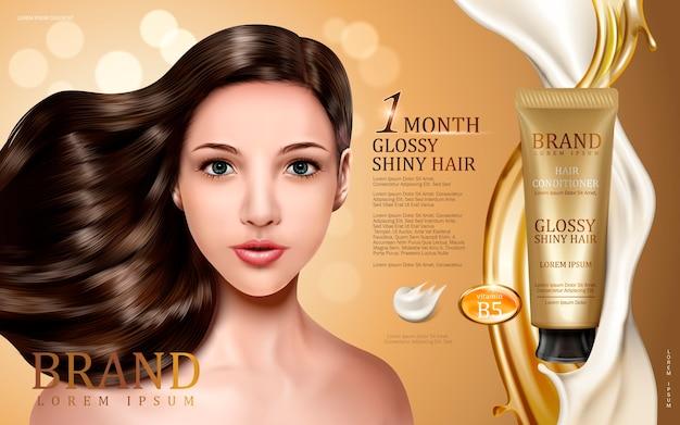 Balsamo per capelli contenuto in tubo con viso modello, flussi dorati e cremosi, sfondo bokeh