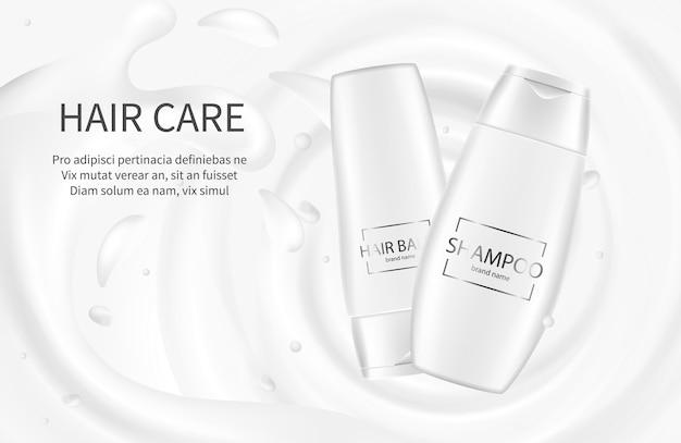 Banner di cosmetici per capelli. shampoo illustrazione promozionale. lozione crema balsamo con spruzzata di latte. shampoo pacchetto cosmetico per la cura dei capelli